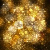 Abstrakter festlicher unscharfer Hintergrund mit funkelndem bokeh beleuchtet, funkelnde Sterne Lizenzfreie Stockfotos