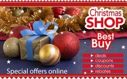 Abstrakter Flieger für den Einkauf auf Weihnachtsshop Lizenzfreies Stockfoto