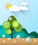 Abstrakter Frühlingskartenhintergrund mit Papierblumen