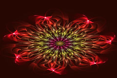 Abstrakter Fractal, rote Blume auf dunklem Hintergrund Stockbild