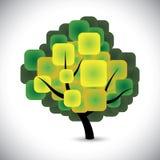 Abstrakter Frühlingsbaum-Konzeptvektor mit bunten grünen Blättern Stockfotografie