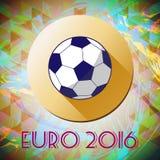 Abstrakter Fußball und Fußball infographic, Meister 2016, ein spielender Ball und gelber Kreis Lizenzfreies Stockbild