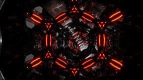 Abstrakter futuristischer dunkler Tunnel im techno Cyber Raum-Tunnel schlang endlos Animation Glas 3D und Handwerkstunnel Gut vektor abbildung