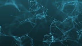 abstrakter futuristischer Hintergrund der Technologie 4k mit Linien und Punkten Stockfoto