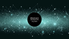 Abstrakter futuristischer Hintergrund Verbindung von Dreiecken und von Punkten Moderne Technologien im Design Ein glühendes Netz  Lizenzfreies Stockfoto