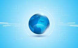 Abstrakter futuristischer Kugeldesigninnovations-Konzepthintergrund der Digitaltechnik des globalen Netzwerks blauer Stockfotografie