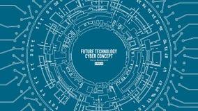 Abstrakter futuristischer technologischer Hintergrund-Vektor Sicherheits-Cyberspace Elektronische Daten schließen an Globales Sys lizenzfreie abbildung