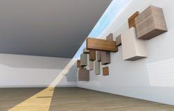 Abstrakter Galerieinnenraum mit leeren hölzernen shelfs Lizenzfreie Stockfotografie