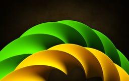 Abstrakter Gegenstand als grüner und orange Strudel kurvt vektor abbildung