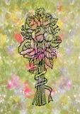 Abstrakter Gekritzelrosenblumenstrauß Stockfotografie
