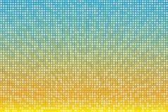 Abstrakter gelber blauer Radialhintergrund im quadratischen Mosaikgitter Helle Sommervektorillustration Lizenzfreie Stockbilder