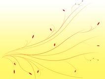 Abstrakter gelber Hintergrund bewegt mit Verzierungen und Blättern wellenartig Lizenzfreies Stockfoto