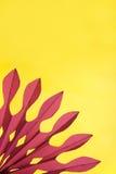 Abstrakter gelber und purpurroter Papieraufbau Stockbild