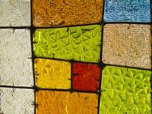 Abstrakter geometrischer bunter Hintergrund Mehrfarbiges Buntglas Dekoratives Fenster von verschiedenen farbigen Rechtecken Lizenzfreies Stockfoto