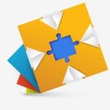 Abstrakter geometrischer Entwurf mit einem Puzzlespiel nach innen Stockbilder