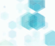 Abstrakter geometrischer Hintergrund des Vektors Blaue Hexagonform Stockfoto