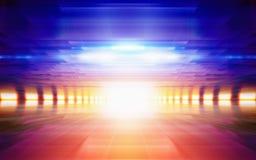 Abstrakter geometrischer Hintergrund, helles glühendes orange Licht, blau Stockbilder