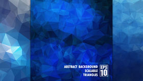 Abstrakter geometrischer Hintergrund von Dreiecken in den blauen Farben Stockbild