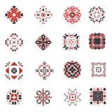Abstrakter geometrischer Ikonensatz Dekorative arabische Artsymbole des Vektors Quadratische Sammlung des Designs Lizenzfreie Stockfotos