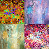 Abstrakter geometrischer Mehrfarbenhintergrund 4 in 1 stock abbildung