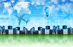 Abstrakter Geschäfts-Hintergrund mit Stadt Lizenzfreies Stockbild