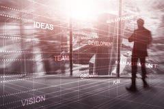 Abstrakter Gesch?ftshintergrund Universaltapeten-Finanzkonzept Schattenbilder von den Leutegemischten medien futuristisch Idias stock abbildung