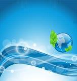 Abstrakter gewellter Hintergrund mit Umweltsymbol Stockfotografie