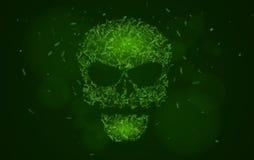 Abstrakter glühender Schädel der grünen Farbe von den Symbolen Tags von Programmiersprachen datenbank Zerhacken von Systemhäckern Stockfoto