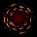Abstrakter Glühenhintergrund mit runden Formen und Scheinen des Feuers Stockfoto
