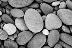 Abstrakter glatter runder nasser Kieselseebeschaffenheitsschwarzweiss-hintergrund Stockfotos