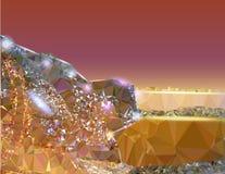 Abstrakter goldener glühender Hintergrund mit hellen Reflexionen Stockfoto