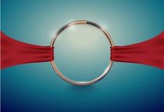 Abstrakter goldener Luxusring mit rotem Stoffband Weinlese-Effekthintergrund des Vektors heller Runder Rahmen auf tiefem Volument Stockbilder