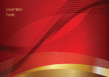 Abstrakte goldene vektorkurven auf rotem Hintergrund Lizenzfreies Stockbild