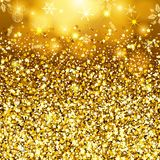 Abstrakter Goldhintergrund Goldene funkelnde Paillette Bühnenbildschabloneneinladung, Feiertag, Hochzeit, neues Jahr Modernes mod Stockfoto