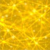 Abstrakter Goldhintergrund mit funkelnden funkelnden Sternen Kosmische glänzende Galaxie (Atmosphäre) Leere Beschaffenheit des Fe Lizenzfreie Stockfotos
