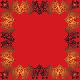 Abstrakter Goldrahmen auf einem roten Hintergrund Stockfotografie
