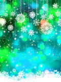 Abstrakter grün-blauer Winter mit Schneeflocken. ENV 8 Lizenzfreies Stockbild