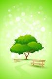 Abstrakter grüner Baum-Hintergrund mit Bank vektor abbildung