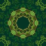 Abstrakter grüner Blumenhintergrund mit rundem Vektormuster Lizenzfreie Abbildung