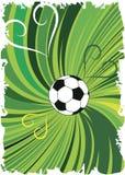 Abstrakter grüner Fußballhintergrund mit Herzen Vertikale Fahne Stockfoto