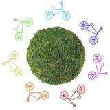Abstrakter grüner Planet mit Fahrrädern auf einem weißen Hintergrund Stockfotos