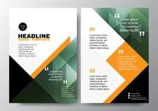 Abstrakter grüner schwarzer Dreieckhintergrund für minimale Plakat-Broschüren-FliegerEntwurf-Vektorschablone in der Größe A4 Lizenzfreie Stockfotografie