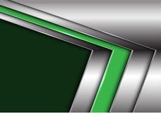 Abstrakter grüner silberner Pfeil mit modernem futuristischem Hintergrundvektor des dunklen Leerstelledesigns vektor abbildung