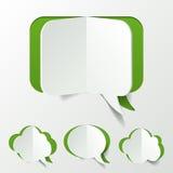 Abstrakter grüner Sprache-Blasen-Satz-Schnitt des Papiers Lizenzfreies Stockbild