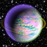 Abstrakter grüner und purpurroter Planet mit grünem Ring und Sternen Stockfotografie