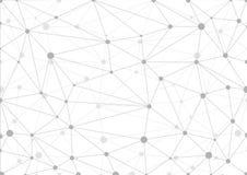 Abstrakter grauer geometrischer Hintergrund mit Chaos von verbundenen Linien und von Punkten