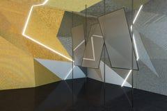 Abstrakter grauer Raum mit Spiegeln stock abbildung
