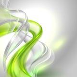 Abstrakter grauer wellenartig bewegender Hintergrund mit grünem Element Stockbild