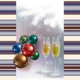 Abstrakter Gruß mit Champagner und Weihnachtsde Lizenzfreie Stockfotografie