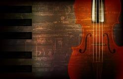 Abstrakter grunge Musikhintergrund mit Violine Lizenzfreie Stockfotos